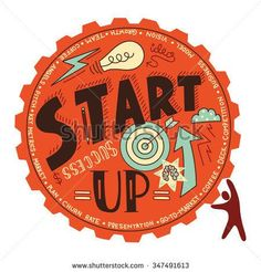 Start up business concept. Person pushing the gear with main start up elements - idea, success, goal, brain, etc. Abstract vector illustration.