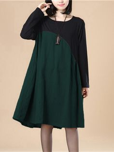 ac1d8dc1 Celmia Plus Size Winter Vintage Dress 2017 Autumn Women Long Sleeve  Patchwork Casual Female Loose Knee-Length Dress 7 Colors