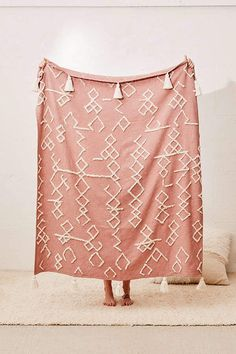 Urban Outfitters Geo Tufted Tassel Throw Blanket