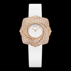 Piaget Limelight Blooming Rose, Ladies Rosegold, Diamonds, white Satin Strap, G0A39183