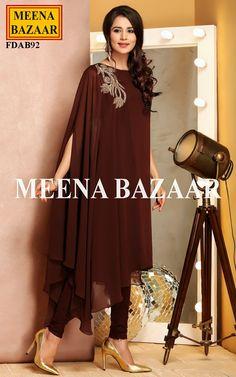 Brown Georgette tunic @ MeenaBazaar