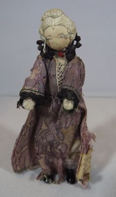 """VINTAGE GRECON 3.5"""" DOLLS' HOUSE MINIATURE DOLL GRANDMA LADY WITH LABEL #Grecon"""