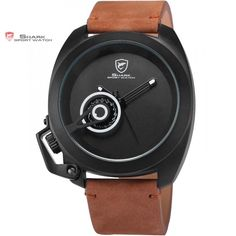 Tawny Shark Sport Leather Strap Men Military Wristwatches