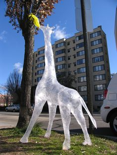 Giraffe Packing Tape Sculpture~ so cool!