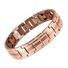 "Rainso Fashion Jewelry Healing FIR Magnetic Titanium Bio Energy Bracelet For Men Blood Pressure Accessory 8.5"" Silver Bracelets"