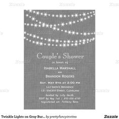 Twinkle Lights on Gray Burlap Couple's Shower 5x7 Paper Invitation Card