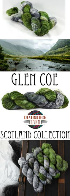 Gorgeous greens and rugged grays bring Glen Coe to life in this stunning hand-dyed colorway. Available for pre-order in yarn weights from fingering to bulky for knitting & crochet!