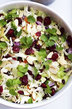 Crunchy, chopped Asian Cranberry Almond Salad with tangy dried cranberries, sliced almonds, cilantro, and the best homemade sesame dressing! Appetizer Salads, Dinner Salads, Appetizers, Vegetarian Recipes, Cooking Recipes, Healthy Recipes, Cranberry Almond, Cranberry Salad, Salad Dressing Recipes