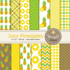 Pineapple Digital Papers Aloha Hawaiian by JennyLDesignsShop