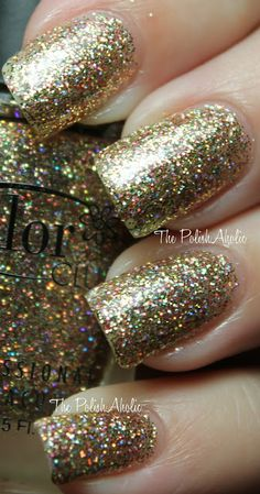'Gingerbread' (gold and holographic micro glitter) - Color Club Holiday 2011 Beyond The Mistletoe Collection  |  The PolishAholic