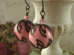 Pink Dangle Ball Earrings Antique Brass Light Rose by adornyou, $16.95