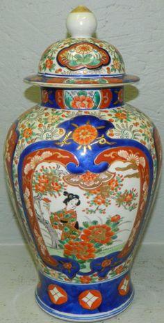 Early Imari covered temple jar.
