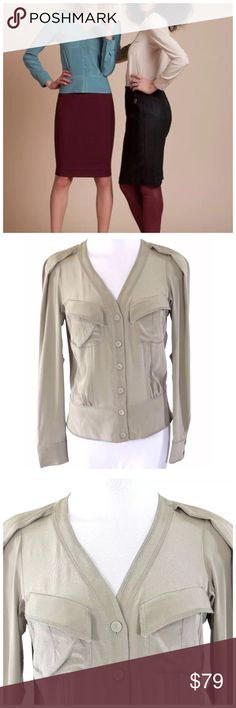 """D10 Anthropology Byron Lars Taupe Crepe Silk Top ‼️ PRICE FIRM UNLESS BUNDLED WITH OTHER ITEMS FROM MY CLOSET ‼️   Byron Lars Blouse  Size 2  Retail $298  FABULOUS MUST HAVE PIECE!!!!  There are so many details to this blouse it is hard to capture them all in photos. Lightweight and perfect for year round wear. Versatile beige/taupe color.  100% silk.  There is some amount of stretch to this top for a perfect comfortable fit. Please check my closet for many more items.  armpit to armpit 35""""…"""