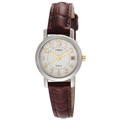 Timex T2N336 Women's Classic Indiglo White Dial Brown Leather Strap Dress Watch,