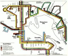 """Map from the 1977 """"Golden Gate Transit Guide"""", showing South Marin Bus Services"""