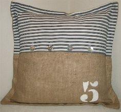 Burlap / Euro Ticking Pillow by LULUHANDMADEshop...
