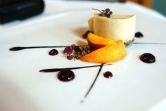 miso cheesecake | masumoto peaches, black sesame, white peach sorbet