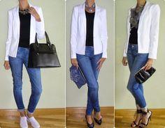 3 looks blazer blanco.  Lo podemos aplicar a uno azul y al negro tambien!!!