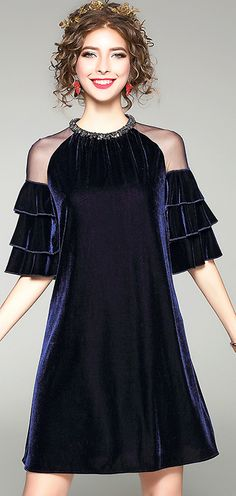 d94e9f8d9498a Buy Stylish Beaded O-Neck Petals Sleeve A-Line Shift Dress at DressSure.