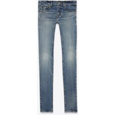 Saint Laurent Original Low Waisted Skinny Jean ($670) ❤ liked on Polyvore featuring jeans, blue jeans, zipper skinny jeans, distressed skinny jeans, skinny fit jeans and destroyed jeans