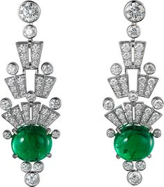 CARTIER. Earrings - white gold, two oval-shaped cabochon-cut emeralds from Colombia totalling 10.64 carats, two E VVS2 brilliant-cut diamonds totalling 1.20 carats, brilliant-cut diamonds.