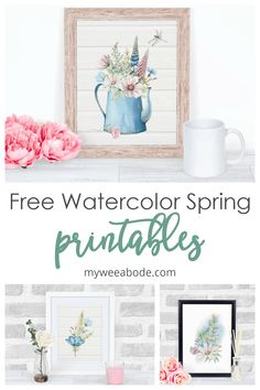 Free printable wall art is a wonderful addition to any spring decor! This digital watercolor wall art is a perfect way to bring a spring touch to your small home, apartment, rental space or dorm room. Blue Spring Flowers, 1960s Home Decor, Watercolor Walls, Home Decor Wall Art, Room Decor, Rental Space, Printable Wall Art, Diys, Dorm Room