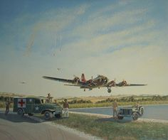 Flying Fortress - Grim Realities (flares fired indicating wounded aboard) by Keith Kochenour Military Art, Military History, American Air, Aircraft Painting, Airplane Art, Aviation Art, Military Aircraft, World War Ii, Wwii