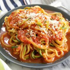 Roasted Red Pepper Zucchini Noodles - The perfect low-carb alternative! Tender zucchini noodles are tossed in a fresh and easy red pepper sauce! Zucchini Noodle Recipes, Zoodle Recipes, Roasted Red Pepper Sauce, Roasted Red Peppers, Zuchinni Noodles, Squash Pasta, Red Sauce, Sauce Recipes, Low Carb Recipes