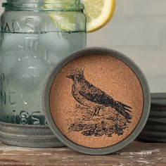 Set of 4 - Mason Jar Lid Coaster - Crow with Crown