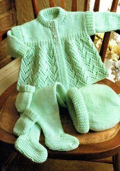 Layette Pattern, Baby Cardigan Knitting Pattern, Baby Knitting Patterns, Baby Patterns, Pram Sets, Baby Layette, Knitted Baby Clothes, Baby Coat, Vintage Knitting