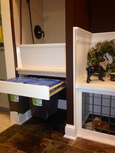 Mud room pull outs for dog food storage