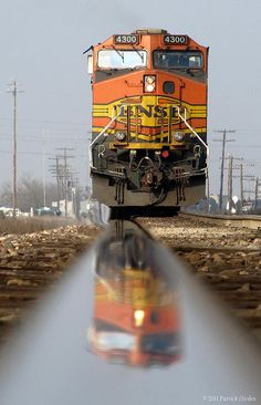BNSF 4300, C44-9W, Ge, BNSF, Burlington Northern Santa Fe, Burlington Northern Santa Fe Railroad, Rail, railroad, Train, Locomotive, freight train, Reflection, BNSF Stockton Sub, Riverbank, Riverbank, CA, Stanislaus County, Central Valley, San Joaquin Valley, Northern California, California