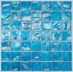 Iridescent Glass Mosaic Tile Pale Blue 2x2