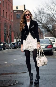 Hard & Soft. Creamy, Lacey feminine dress paired with a black, structured, edgy jacket.