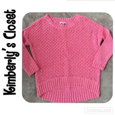 ✨AMERICAN EAGLE sweater✨ ✨AMERICAN EAGLE pink sweater.  Size medium (runs a little small).  Shorter in front than back. 3/4 length sleeves.  100% cotton.  Machine washable.  Only worn one time - great condition! American Eagle Outfitters Sweaters