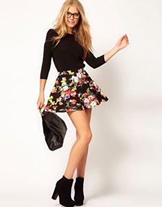 ASOS Skater Skirt in Sweet Pea Print