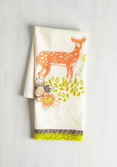 All Good in the Woods Tea Towel in Deer - Multi, Critters, Woodland Creature, Good, Under $20, Hostess, Cotton