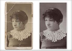 The Photo Restoration Center Before & After Examples. Including fixing faded photos, repairing cracks & tears, replacing missing areas, mold removal & more. Photo Restoration, Crochet Earrings, Art, Street Graffiti, Doodles, Art Background, Kunst, Art Education