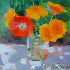 """Daily Paintworks - """"California Poppies"""" by Elena Katsyura"""