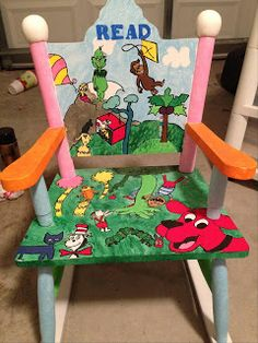 Hand-Painted Children's Storybook Rocking Chair with characters from children's stories