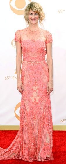 Laura Dern looked amazing in a Naeem Khan coral beaded gown from the designer's Spring 2014 collection at the 2013 Emmys. #fashion