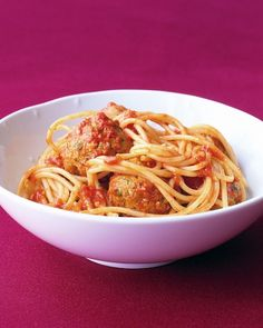 Spaghetti with Turkey Meatballs - Martha Stewart Recipes - We adapted this with 80/20 ground beef.  Best Mother's day meal ever!!!