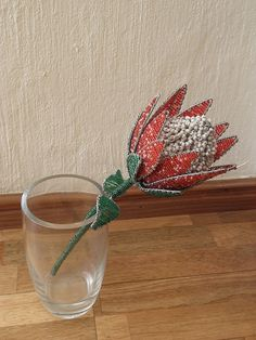 African Beaded Wire Flower - PROTEA - Red and White, $39