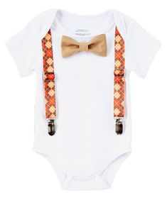 c970573ee Baby Boy Thanksgiving Outfit Argyle Suspenders Orange Tan Bow Tie. My First  Thanksgiving ...