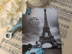 eiffel tower with blue car tags by bellaseradesigns on Etsy, $4,00