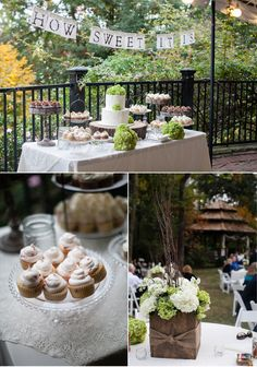 i would like a dessert station! with green and white pom poms hanging above