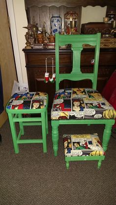 Upcycled Chair, seat/stool and footstool with draw painted and waxed with Annie Sloan