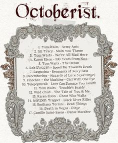 Octoberist Playlist on Broke & Beautiful