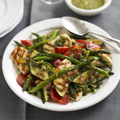 This substantial salad is drizzled with a zesty orange, caper dressing that cuts through the creamy Halloumi and smokey char-grilled flavours.