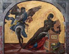 The Annunciation of a Woman' by Harmonia Rosales, contemporary Afro-Cuban US artist known for foregrounding black women in Western and religious imagery to create an alternative world vision African American Art, African Art, Arte Black, Black Art Painting, Black Art Pictures, Afro Art, Black Women Art, Classical Art, Art Abstrait